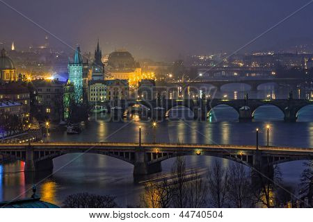 aerial night view on bridges in Prague, Czech Republic