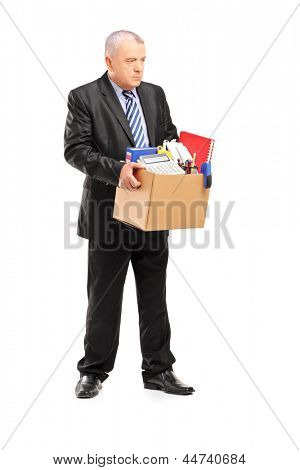 Full length portrait of a retired professional man with a box of belongings, isolated on white background