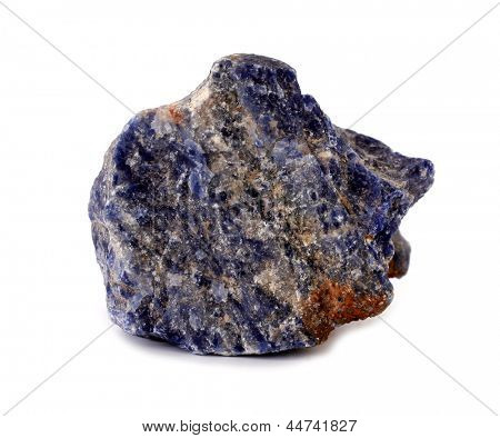 Sodalite blue mineral rock stone on white