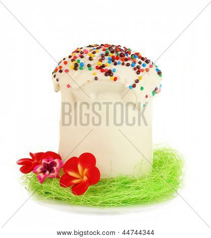 Easter cake with sugar glaze isolated on white
