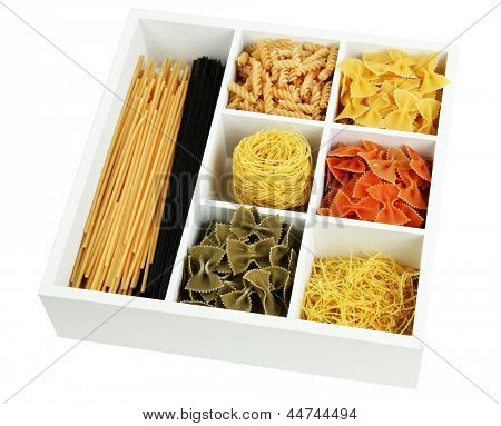 Different types of pasta in white wooden box sections isolated on white