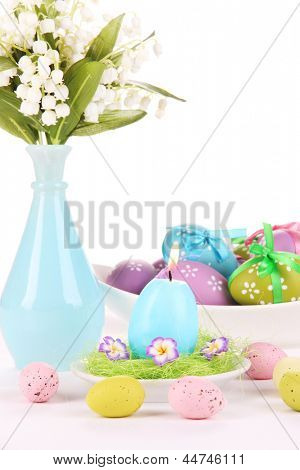 Place setting for Easter isolated on white