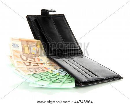 Euro im Portemonnaie, isolated on white