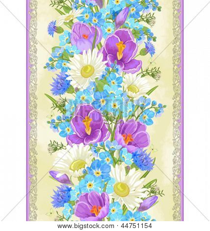 Vertical seamless pattern with chamomiles, crocuses and forget me not.