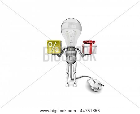 """The robot """"bulb"""" Holds in a hands percent sign and gift isolated on a white background"""