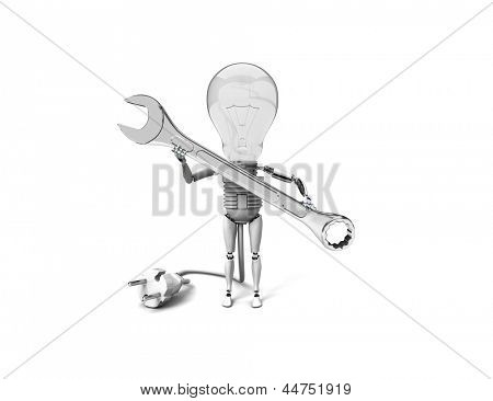 "The robot ""bulb"" Holds in a hand tool and show ""ok""  isolated on a white background"