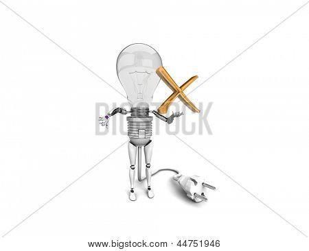 "The robot ""bulb"" Holds in a hand ""no"" sign and show ""bad""  isolated on a white background"