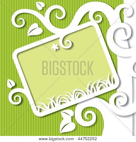 Raster version of vector image of the tree shaped cut paper white and green background with a frame