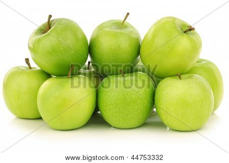 "freshly harvested ""Granny Smith"" apples  on a white background"