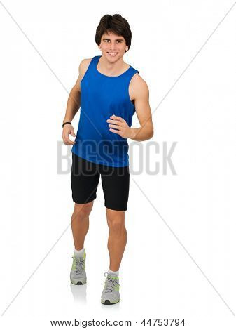 Portrait Of Young Man Running Isolated On White Background