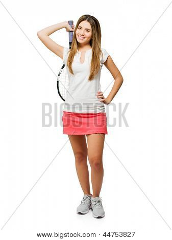 Young Woman Holding Racket Isolated On White Background