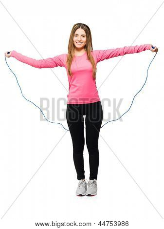 Woman Doing Exercise With Jumping Rope Isolated On White Background