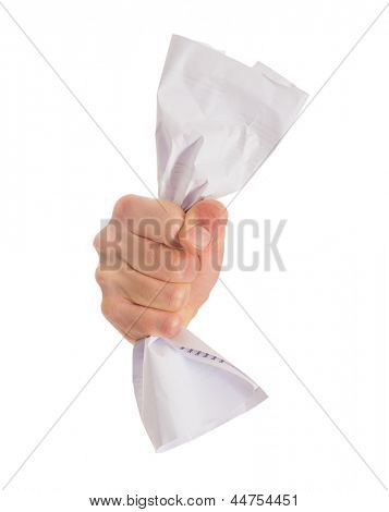 Close-up Of Hand Squeezing Paper On White Background
