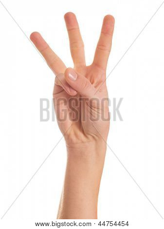 Close-up Of Human Hand Showing Three Fingers Isolated Over White Background
