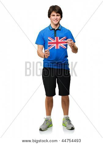 Young Man Holding British Flag Isolated On White Background