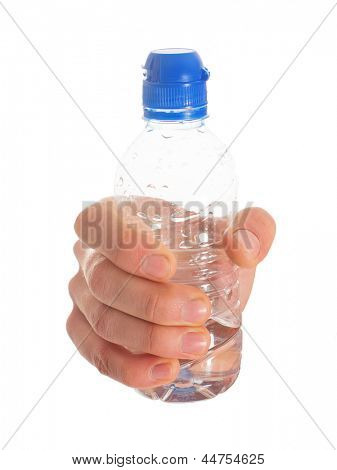 Close-up Of Hand Holding Water Bottle On White Background