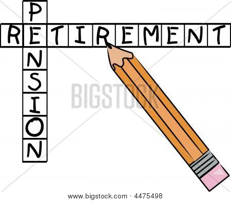 Pencil Doing Crossword With Pension Retirement.