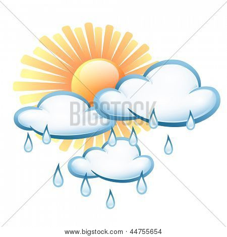 Vector symbol weather. Cloud with rain drops and sun with rays. Illustration on the theme of weather