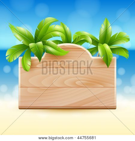 Illustration of a tropical beach with a wooden sign and coconut palms