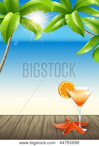 Citrus cocktail on a tropical landscape. Vector Design on a summer holiday