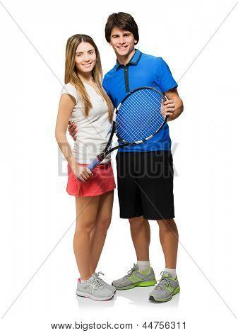 Young Couple Holding Racket Isolated On White Background