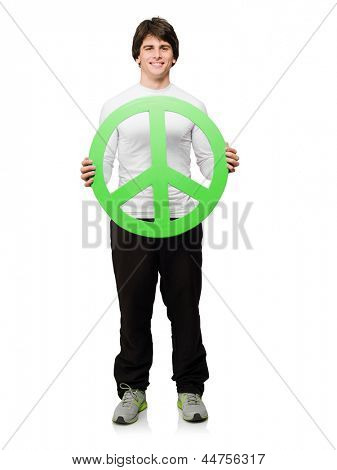 Young Man Holding Peace Sign Isolated On White Background