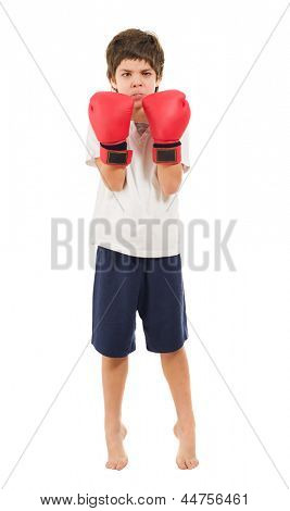 Boy Wearing Boxing Gloves Isolated Over White Background