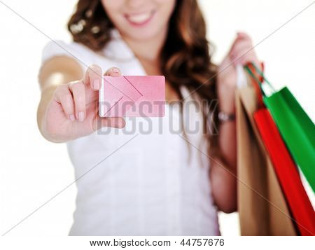 Shopping woman showing business card