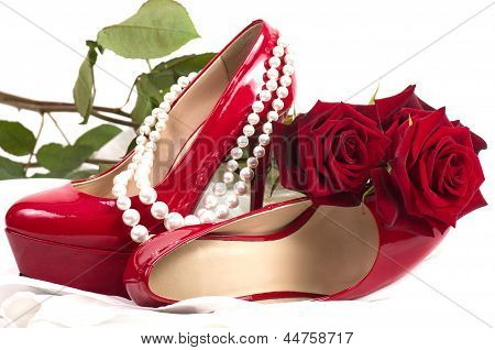 Sexy red shoes isolated on white background.