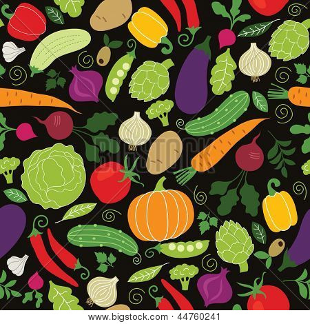 seamless pattern on a black background , vegetables illustrations