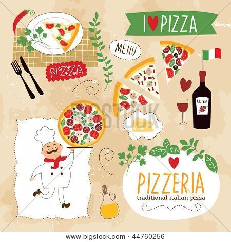 set of Pizza design elements