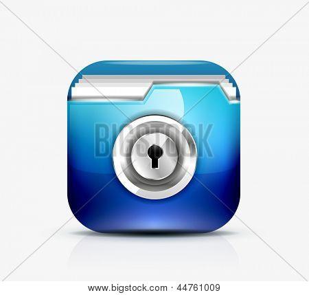 Locked folder icon / folder protection concept. Vector