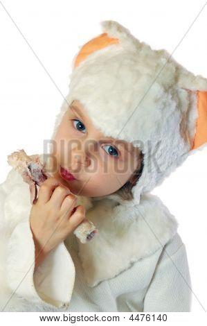 Kitten Eating Chicken