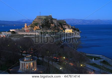 Old fortress in Corfu at night, Greece