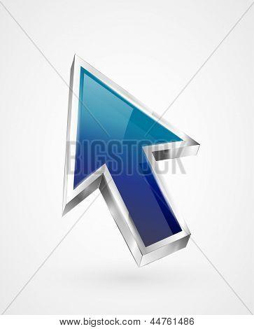 3d vector glossy arrow mouse pointer