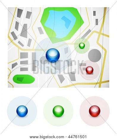 Glossy spheres map pointer icon set