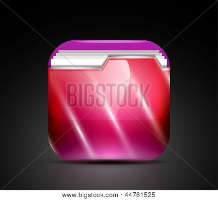 Glossy folder icon / mobile app button
