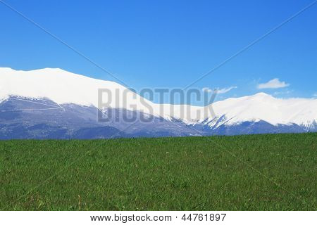 Olympus Mountain covered by snow in Greece