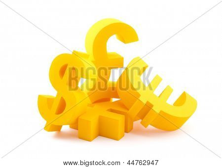 Symbols of currency with clipping path