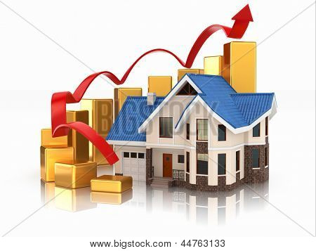 Growth of real estate market House and graph. 3d