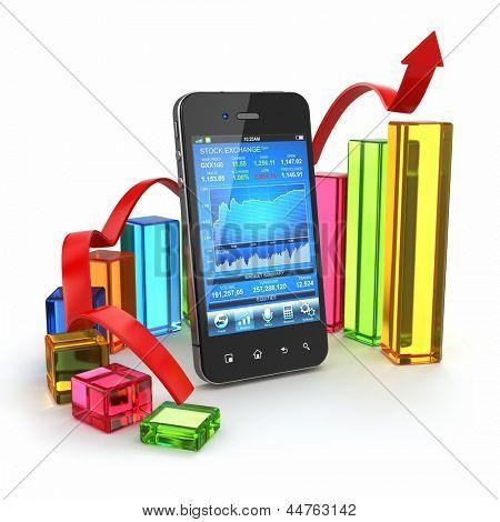 Beurs van toepassing op mobiele en grafiek. 3D