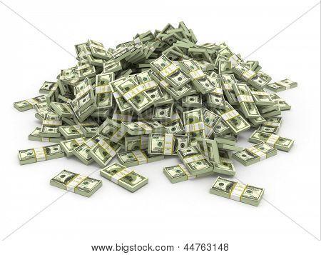 Dollars. Pile from packs of money. 3d