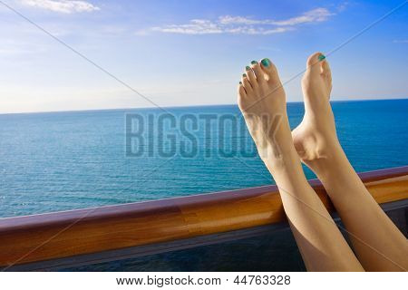 Relaxing onboard a Cruise Ship Balcony