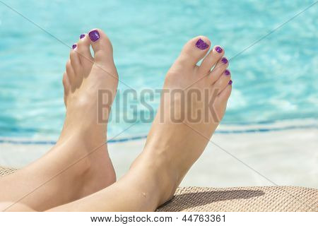 Beautiful Sexy Feet and Toes by the Swimming Pool