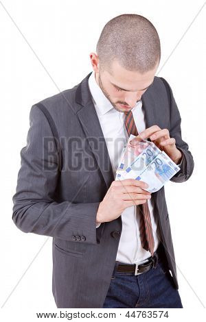 young business man with lots of money, isolated