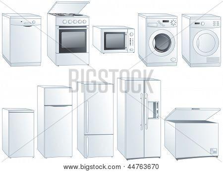 Kitchen home appliances: fridge, oven, stove, microwave, dishwasher, washing machine, dryer. Vector illustration