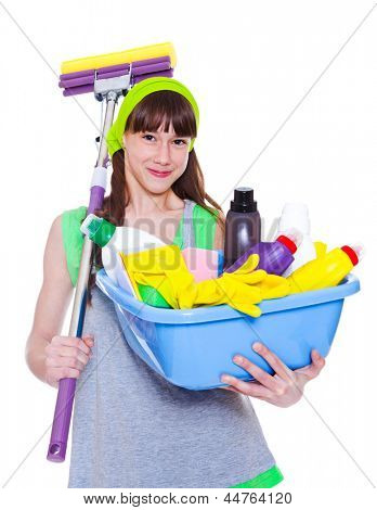 Smiling girl with detergents and mop