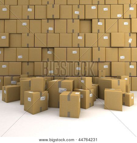 Huge pile of cardboard boxes, forming a wall, ideal for backgrounds