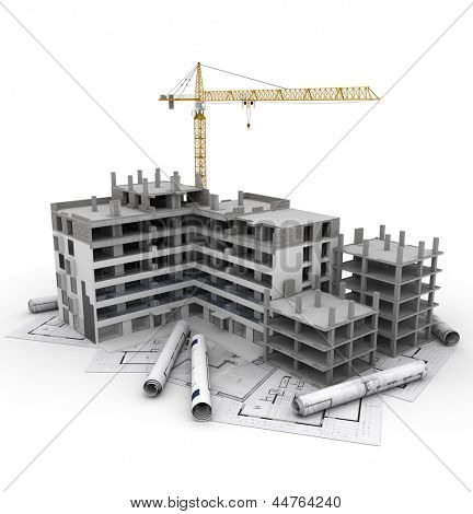 Building under construction with crane, on top of blueprints