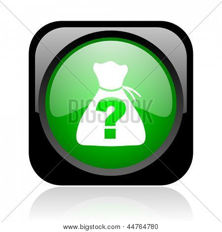 riddle black and green square web glossy icon
